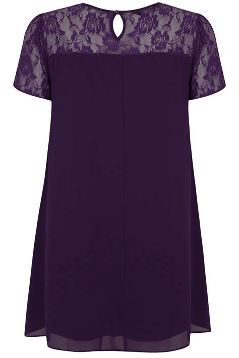 purple swing dress purple chiffon swing dress with contrast sheer lace top