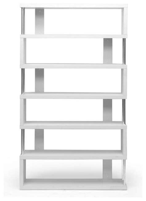 Baxton Studio Barnes White Six Shelf Modern Bookcase White Modern Bookshelves