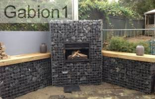 gabion barbecue and fireplace details