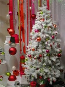 White christmas tree with red decorations decoration burning red
