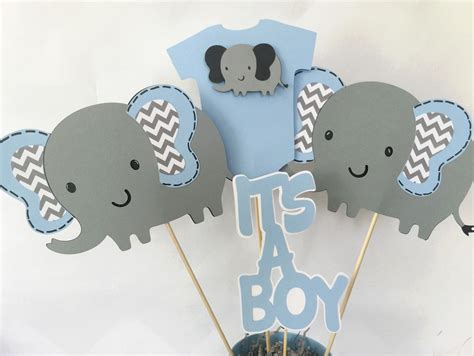 Baby Boy Elephant Themed Baby Shower by Elephant Baby Shower Centerpiece In Blue And Gray