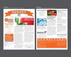 Apartment Community Newsletter Templates by King Arthur S Court Apartment Newsletter On Behance