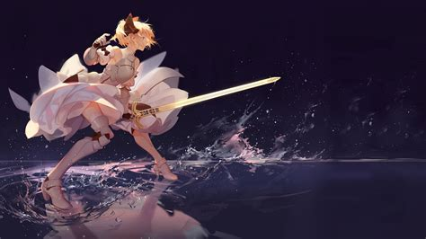 Saber Reflection with swords anime sword fate