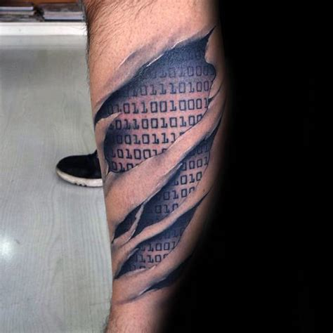 30 binary tattoo designs for men coded ink ideas