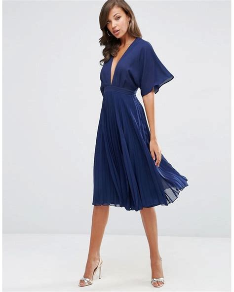 Pleated Sleeve Midi Dress asos kimono sleeve pleated midi dress in blue lyst