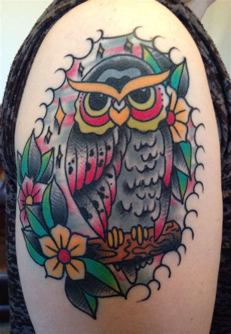 old school tattoo newcastle my awesome new upper arm tattoo old school owl by dan