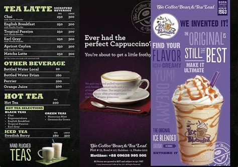 Menu Coffee Bean Indonesia drinks menu picture of the coffee bean and tea leaf
