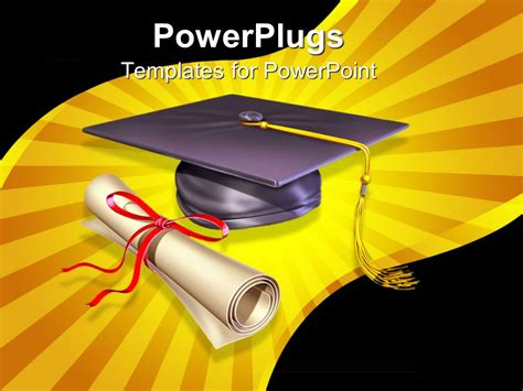 Powerpoint Template Graduation Cap Diploma Showing Education Importance 14723 Graduation Powerpoint Template