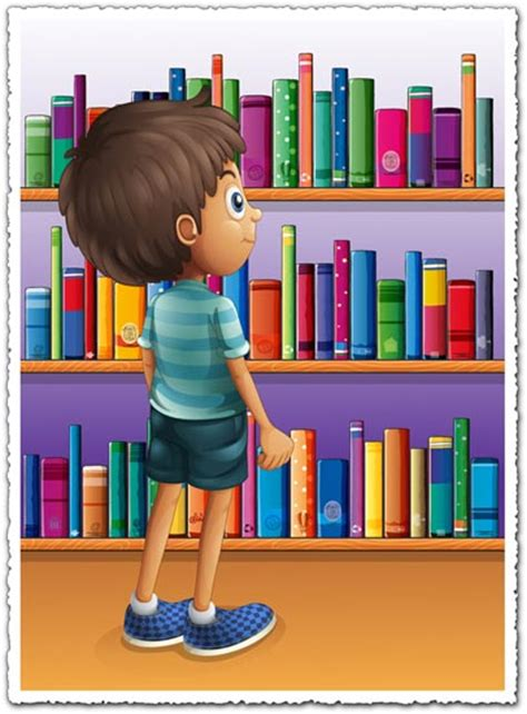 libro a woman looking at cartoon boy in front of bookshelves vector