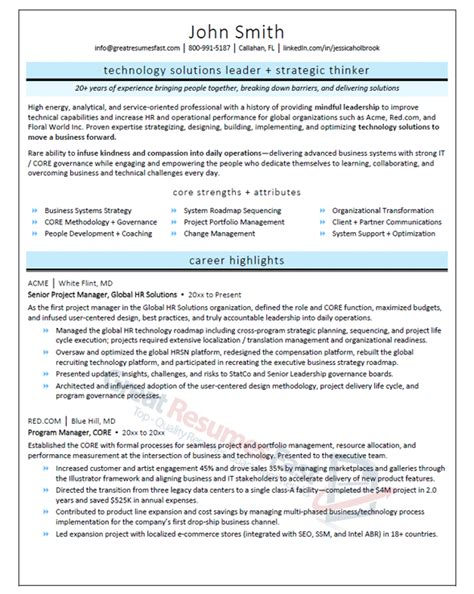 Senior Project Manager Resume Summary by Executive Resume Sles Professional Resume Sles