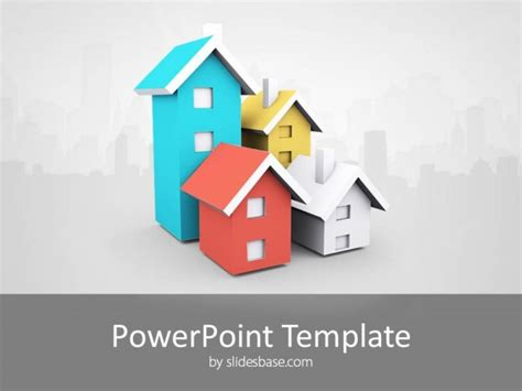3d House Real Estate Powerpoint Template Slidesbase Powerpoint Real Estate Templates