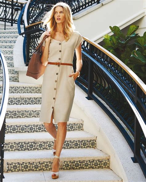 whats clothes are in for a woman in her 50s elegant sleek love the neutral linen and the statement