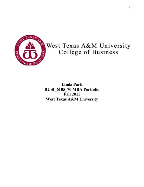 West A And M Mba by Park Mba Portfolio Thesis