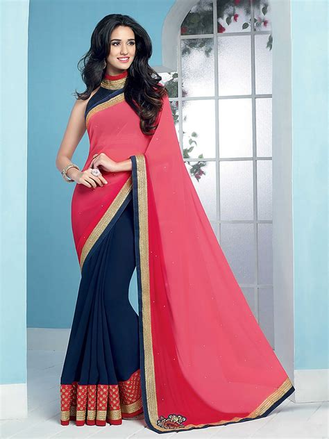 Dasi Slim Pink buy blue and pink patch worked georgette saree
