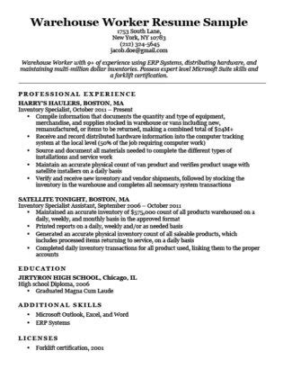 resume examples warehouse worker buildbuzz info