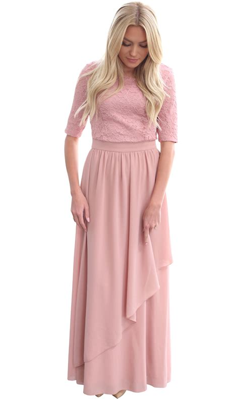 Modest Maxi Dresses by Quot Quot Modest Semi Formal Maxi Dress In Mauve Dusty Pink