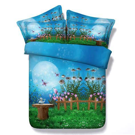 blue bed linen duvet sets new arrival dreamy fairyland print blue 4pcs duvet cover