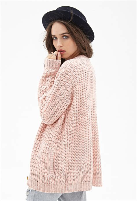 knitting pattern long line cardigan forever 21 marled knit longline cardigan in pink lyst