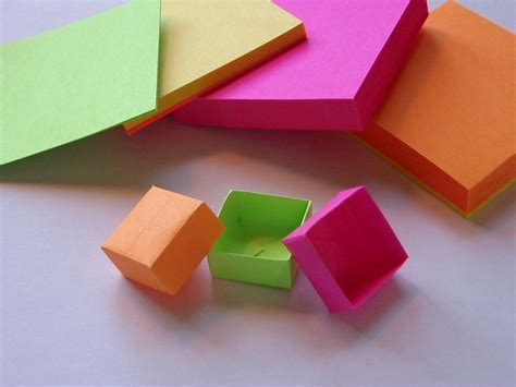How To Make Origami Out Of Sticky Notes - origami post it box
