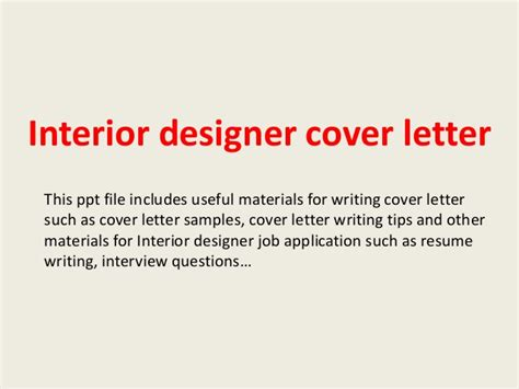 Application Letter Interior Designer Interior Designer Cover Letter