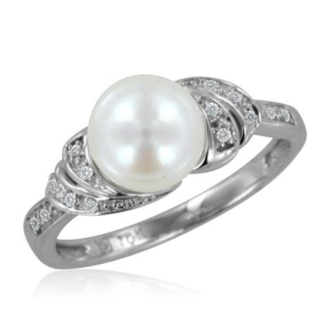 white gold pearl engagement ring