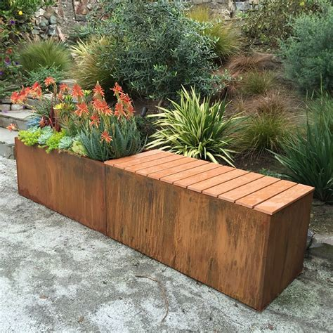 Corten Planter Box by Corten Steel Metal Planter With Polystyrene Bench Could