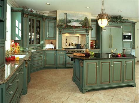 blue green kitchen cabinets green french country kitchen cabinets blue and green