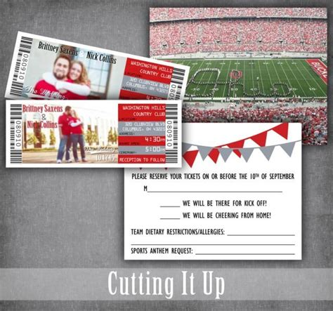 football wedding invitations football ticket invitation