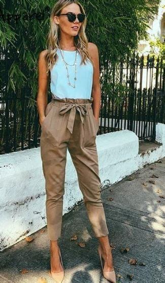 womens fashion ribbon belted high waisted trousers
