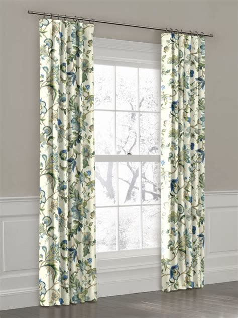 blue and white print curtains white green and blue floral ring top drapery panel