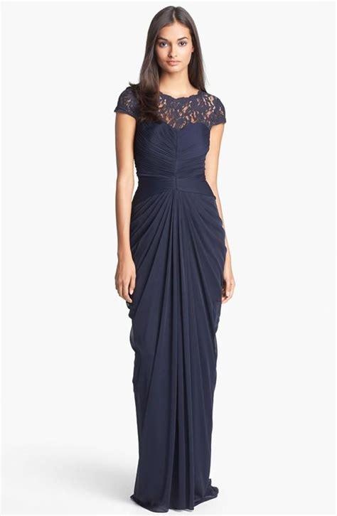 Longdress Sammy Navy navy bridesmaid dress with illusion necklice magic