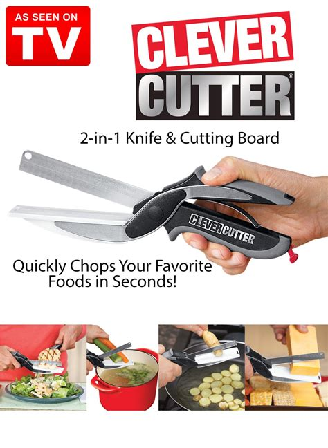 smart kitchen products almighty cutting clever cutter 2 in 1 knife and cutting board
