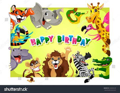 animal birthday card template happy birthday card jungle animals stock vector