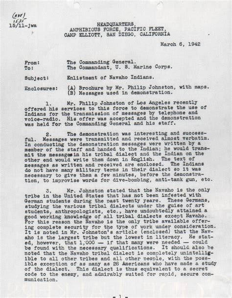 Naval War College Letter Of Recommendation Memorandum Regarding The Enlistment Of Navajo Indians