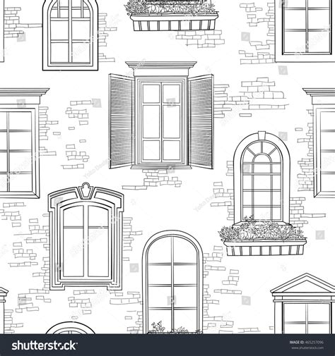 different architectural styles window pattern different architectural style windows stock