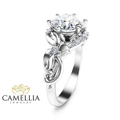 unique 2 carat ring leaf design engagement