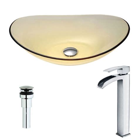 Faucet Key by Mesto Series Deco Glass Vessel Sink In Lustrous