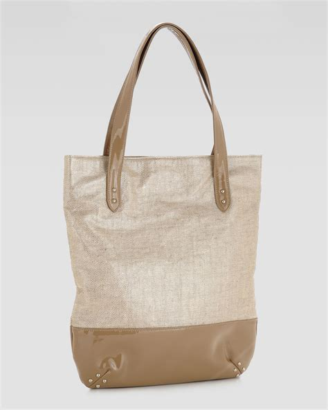 Merkin Large Plum Tote Purses Designer Handbags And Reviews At The Purse Page by Merkin Linen Tote In Gold Platinum Lyst