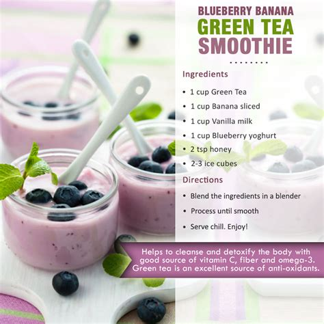 Blueberry Green Tea Detox Smoothie recipes guide to make healthy fruits vegetables juices