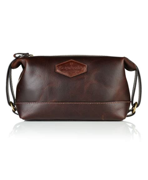 Superdry Leather Brown mens leather travel bag in brown superdry