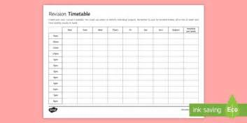 gcse revision timetable secondary education resource