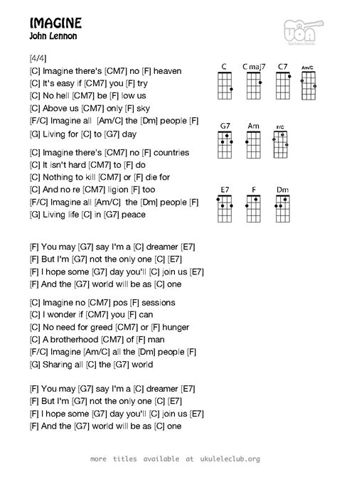 testo imagine ukulele chords imagine by lennon