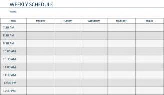 Weekly Schedule Calendar Template by Editable Weekly Schedule Template In Word