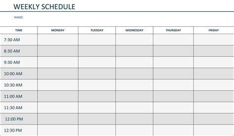 weekly schedule template 13 free word excel pdf download