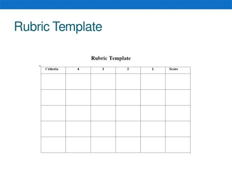 blank rubric template 3rd 5th summeracademyupdated