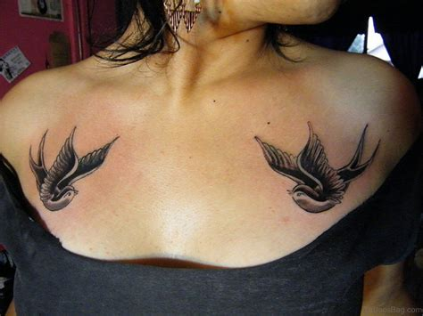 50 Beautiful Swallow Tattoos On Chest Small Chest Ideas For