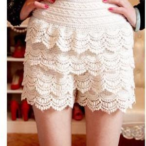 Skort Celana Pendek Korea White Lace 2 7 Y fashion sweet crochet lace tiered skirt safety pleated elastic waist