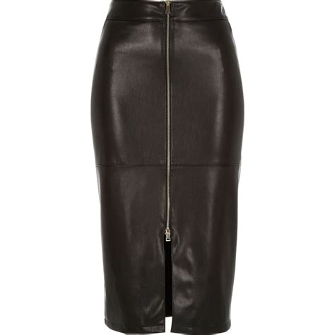 river island black leather look zip front pencil skirt in