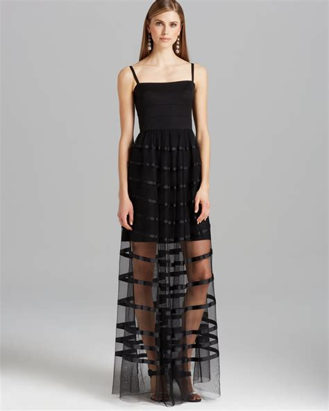 vera wang gown spaghetti sheer skirt in black lyst