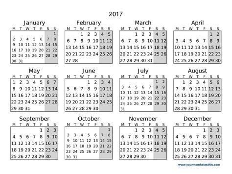 day calendar 2017 calendar